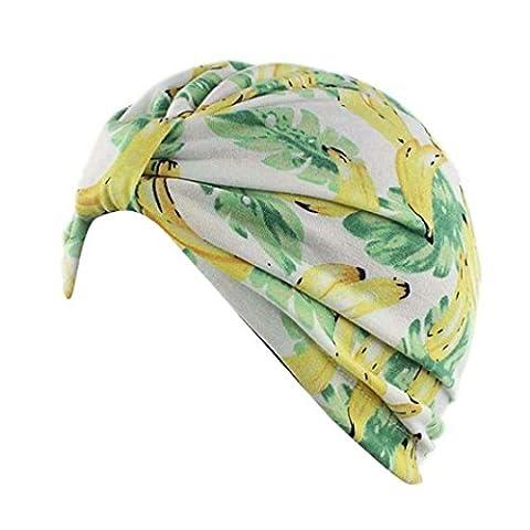 Cap Transer® Damen Hüte Make-up Baumwolle Stretch Turban Schal Hut Wrap Hijib Drucken Bananen Blatt Punkt Mützen mit Knoten (B)