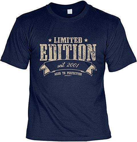 T-Shirt zum 16. Geburtstag Limited Edition seit 2001 Geschenk zum 16 Geburtstag Geschenkidee 16. Geburtstag 16 Jahre Geburtstagsgeschenk Navyblau