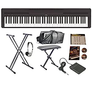 yamaha p 45b digital piano bundle carry case amazon. Black Bedroom Furniture Sets. Home Design Ideas