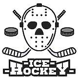 dekodino® Adesivo murale Maschera e dischi da hockey su ghiaccio sportivo