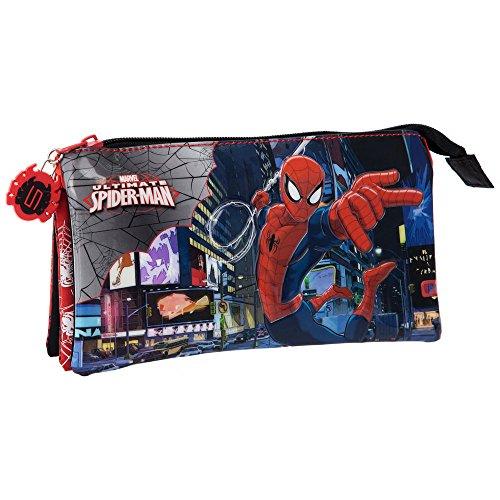 MARVEL Trousse 3 Compartiments Spiderman Vanity, 22 cm, Rouge