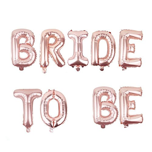 Power Ferhd 16 inch Rose Gold DIY Foil Letter Balloons Bride to BE Party Decor for Bachelorette Wedding Hen Party Supplies (Pink)