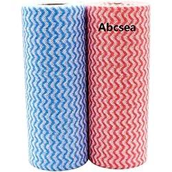 Abcsea 2 rouleaux de Lingettes nettoyantes de non tissé, chiffon de nettoyage, Essuie-tout lavable, Papier Absorbant réutilisable (rouge et bleu)
