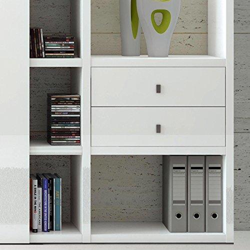 Wohnwand Bücherregal Hochglanz weiß Aktenregal Wandregal Regal CD DVD Büromöbel - 2