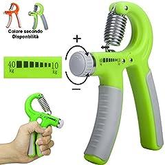 Idea Regalo - Attrezzo ginnico Hand Grip a Molla con forza regolabile per allenamento mano avambraccio esercizi potenziamento muscoli - Colore Casuale Verde o Arancio