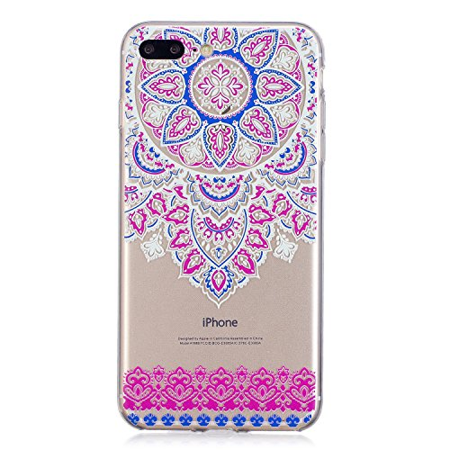 Cover iPhone 7 Plus, Custodia iPhone 8 Plus, Voguecase Custodia Silicone Morbido Flessibile TPU Custodia Case Cover Protettivo Skin Caso Per Apple iPhone 7 Plus/iPhone 8 Plus 5.5(dream/porpora piuma)  Pizzo Tappeto 12