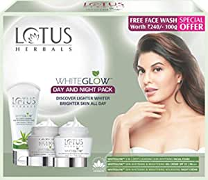 Lotus Herbals White Glow Day And Night Pack with free Face wash,220gm