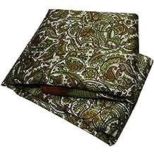 PEEGLI Vendimia Sari Seda Mezcla Tela Sarong Vestido Envoltura Indio Crema Impreso Saree