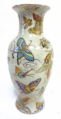 30,48 cm H chino Satsuma porcelana pintada a mano Jarrón Diseño de mariposas