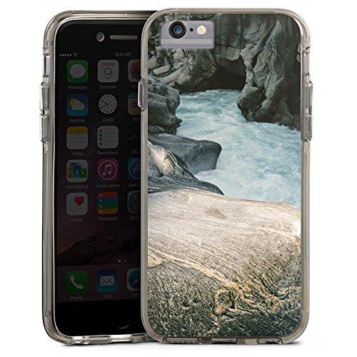 Apple iPhone 6 Plus Bumper Hülle Bumper Case Glitzer Hülle Felsen Natur Stein Bumper Case transparent grau