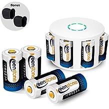 RCR123A Baterías recargables para Arlo cámara, Keenstone - 8Pcs 3.7V 700mAh batería litio + 1PCS cargador de 8 puertos para Arlo VMC3030 / 3230 / 3330 / 3430 / 3530 Cámaras de seguridad