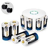 RCR123A Wiederaufladbare Batterien für Arlo Kamera, Keenstone Akku Li-Ion 3.7V 700mAh, Arlo Kamera Silikon Hülle und Batterie Gehäuse Enthalten, Geeigenet für Arlo Kamera VMS3030 / 3230/3330/3430