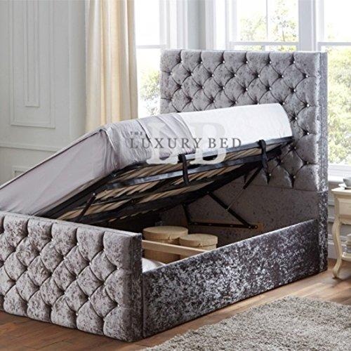 Crystal Ottoman-Bett mit Kopf- und Fußteil-Easy Lift-Up slatted Lagerung Organizer-Roomy für Decken, Blatt, Schuhe und Bücher, Schlafzimmer, Möbel, Malia Teale, Double 137