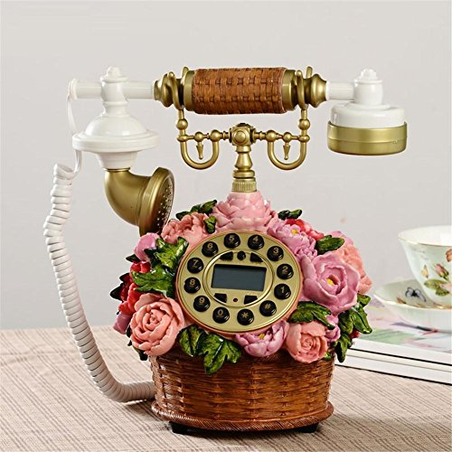 homjo-kreative-blumen-korbe-form-push-button-telefon-vintage-antique-style-resin-metall-corded-telef