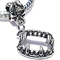 Charm Buddy Dracula Vampire Fangs Halloween Pendant Charms Bead Fits Silver Charm Bracelets Jewellery