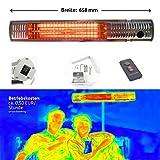Gardigo Edelstahl Infrarotstrahler Heizstrahler, Infrarot Kurzwellen - wärmen gezielt Menschen und nicht die Umwelt, keine abtriftende Wärme, Wärmestrahler, Terrassenstrahler, 4-Stufen 650 - 2000 W
