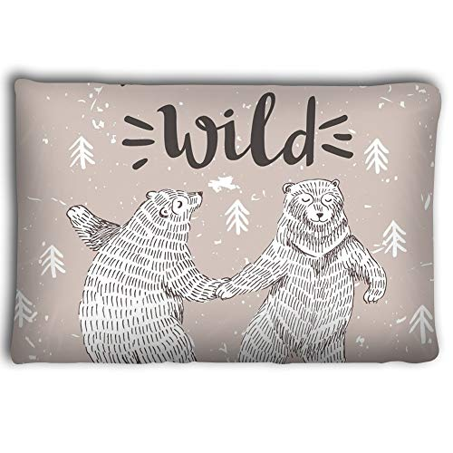 Zhangshpoing Pillow Cases Hand Drawn Dancing Bears Forest Vector Sketch Illustration stylish Lettering be Little wild 20 * 30inch