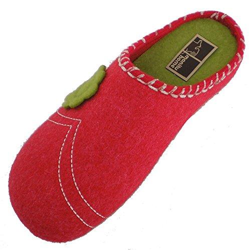 Manitu 320477-4 femmes chaussons Rouge