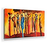 Mia Morro - MASSAI AFRIKA 110x50cm XXL BILD - KUNST, Leinwand auf Echtholzrahmen aufgespannt, UV-stabil und wasserfest, modernes XXL Deko Bild FineArtPrint Wandbild