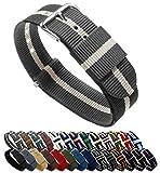 BARTON Watch Bands Uhrenarmband, Farb- und Längenauswahl (18 mm, 20 mm, 22 mm oder 24 mm), Bänder aus ballistischem Nylon, unisex, SMKLIN18, Smoke/Linen, 18mm - Standard (10