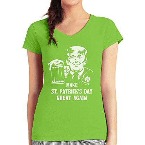 Trump - Make St. Patrick's Day Great Again Damen T-Shirt V-Ausschnitt Medium Limettengrün