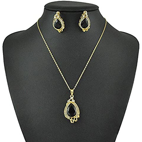 Placcato oro di cristallo della sirena Teardrop Collana Orecchini Set, insieme dei monili nuziali per (Teardrop Nuziale Degli Orecchini Della Collana Di Cristallo)