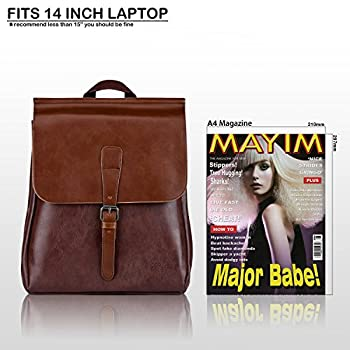 Unisex Backpack Pu Leather Rucksack College School Satchel Laptop Work Bag Travel Camping Backpack For Men Women Fits 14 Inch Macbook Ipad By Corliss (#10 Coffee) 5