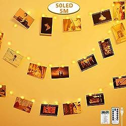 Anpro 50 LED Fotoclips Lichterkette Photoclips 5M, USB Powered 8 Beleuchtungsmodi mit Fernbedienung für Foto Bilder Karten, Warmweiß
