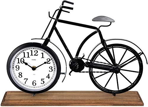 Tischuhr Fahrrad 42cm grau Holzsockel Standuhr Fahrraduhr Kaminuhr shabby Deko