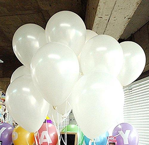 Beauty DIY Mart 100pcs Látex Globos de 10 Pulgadas Perla para Decoraicion de Boda Cumpleaños Fiesta, Color Blanco