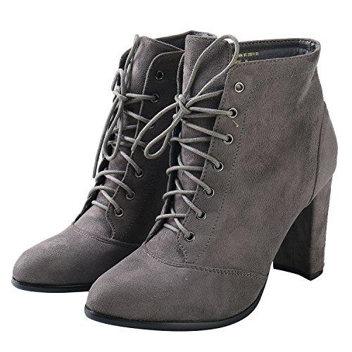 Alexis Leroy Stivali caviglia in velluto de tacco largo alto con lacci donna Grigio