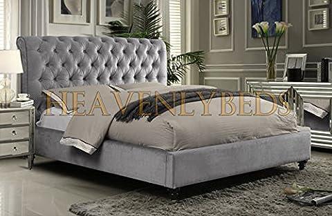 Scroll Studded Sleigh Bed Frame Crushed Velvet or Chenille Double King Superking (4'6 Double, Light Grey