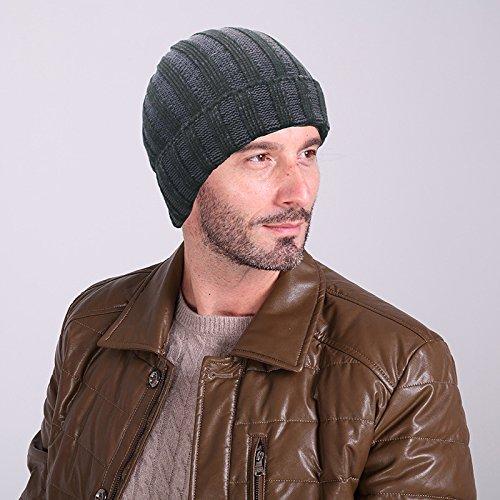 MEICHEN-di due strisce di colore cappello di lana autunno/inverno moda per uomini e donne al di fuori caldo knit hat cappello a forma di anguria ski Hat,approfondimento nero grigio
