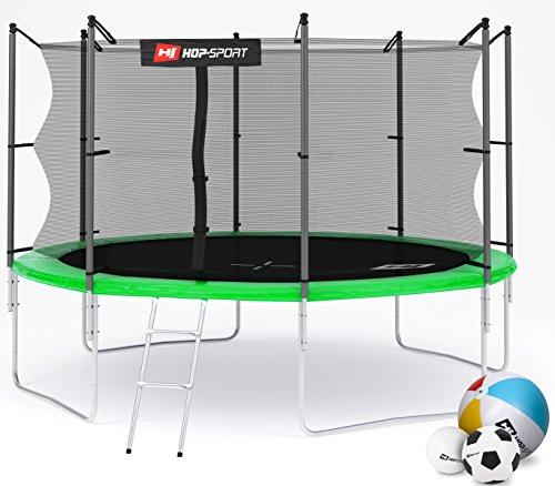 Hop-Sport Gartentrampolin 244, 305, 366, 430, 490 cm Komplettset inkl. Innennetz Leiter Wetterplane Erdanker Grün (366 cm)
