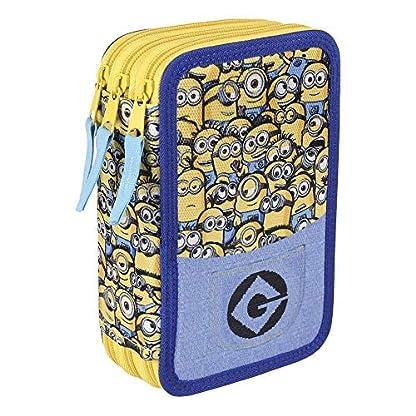 Takestop® – Estuche con 3 cremalleras, 7 x 15 x 22 cm, diseño de los Minions de Gru, mi villano favorito