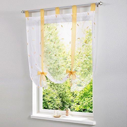 Yunt - tende da finestra verdi a discesa, con ricamo, per decorazione d'interni, soggiorno, camera, balcone, 60 x 140 cm, giallo, a : 60*140cm