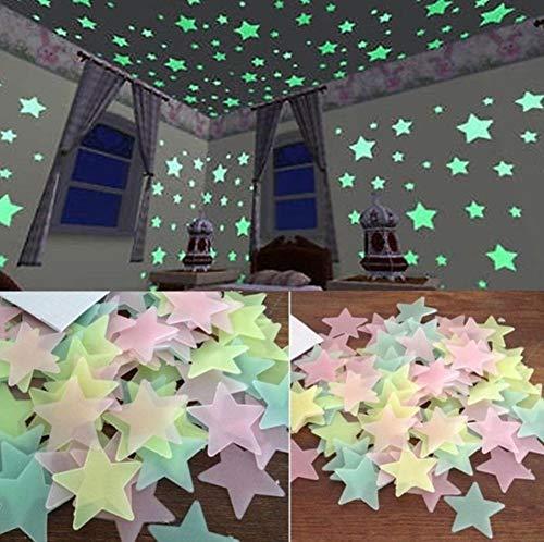 100 Stück Deko-Aufkleber Sterne - Leuchtend - Glow in The Dark - Wand-Aufkleber Dekoration - bunt