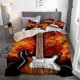 HUAYEXI Housse de Couette avec taie,Fender Stratocaster Strat Guitare électrique Classique Rock and Roll Blues Design Historique Vintage,220x240cm+2 taies d'oreillers 50x75cm