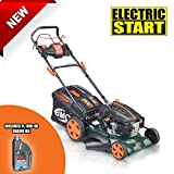 "BMC Lawn Racer 21"" Self Propelled Electric Push Button Start Lithium Ion Battery 6.5HP 4 Stroke Rotary Petrol Lawn Mower with 60L Grass Collection Bag, All Steel Deck, 4 in 1 Function Cut, Cut & Collect, Mulch, Side Discharge including FREE One Litre of Engine Oil - 2 Years Warranty"
