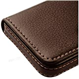 Alexvyan -Genuine Accessory - Stylish Pocket Sized Stitched Leather Visiting Card Holder For Keeping Business Cards And More - Brown