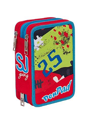 Estuche Escolar 3 Pisos Seven – SJ High Tech – Rojo Azul – con lápiz, marcadores, boligrafos.