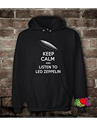 Sudadera Unisex uomo-donnakeep Calm And Listen To Led Zeppelin, Unisex adulto, negro