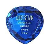 Geschenke.de Personalisierbarer Glasdiamant als Geschenk zur Konfirmation mit Gravur - Geschenke zur Konfirmation für Jungen und Mädchen mit Fisch-Motiv dunkelblau
