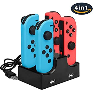 Ladestation für Nintendo Switch Joy-Con 4 in 1 Ladestation mit USB-Kabel und 2 USB-Port für Telefon