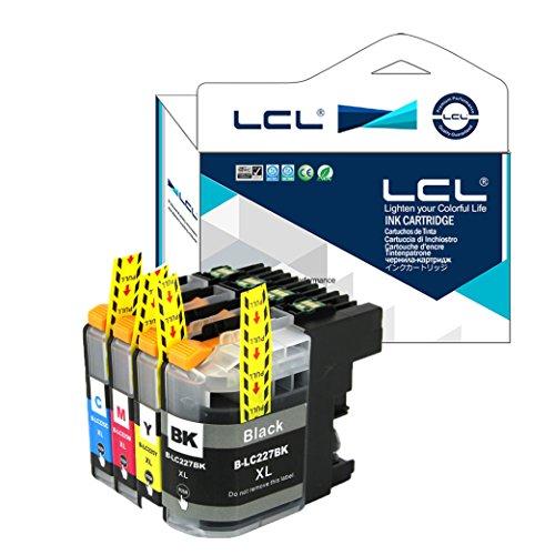 LCL Cartuchos de Tinta Compatible LC227XL LC225XL LC227 LC225 LC227XLBK LC225XLC LC225XLM LC225XLY (1Negro 1Cian 1Magenta1 1Amarillo) Reemplazo para Brother MFC-J4420DW/J4620DW/J4625DW DCP-J4120DW