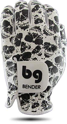 Bender Handschuhe Mesh Golf Handschuhe für Herren Cabretta Leder Links getragen, Skulls Ghost, Large -