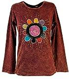 Guru-Shop Goa Langarmshirt Stonewash, Damen, Rostrot, Baumwolle, Size:S (36), Pullover, Longsleeves & Sweatshirts Alternative Bekleidung