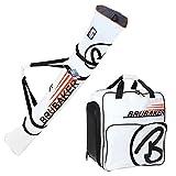 BRUBAKER Kombi Set CHAMPION Skisack und Skischuhtasche für 1 Paar Ski bis 170 cm + Stöcke + Schuhe + Helm Weiß Orange