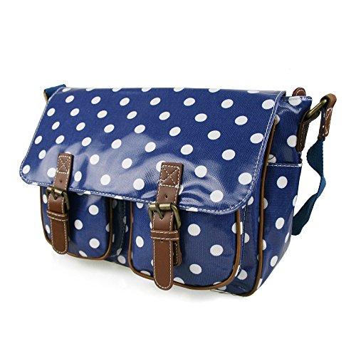 Miss Lulu , Damen Schultertasche Polka Dots Navy Blue