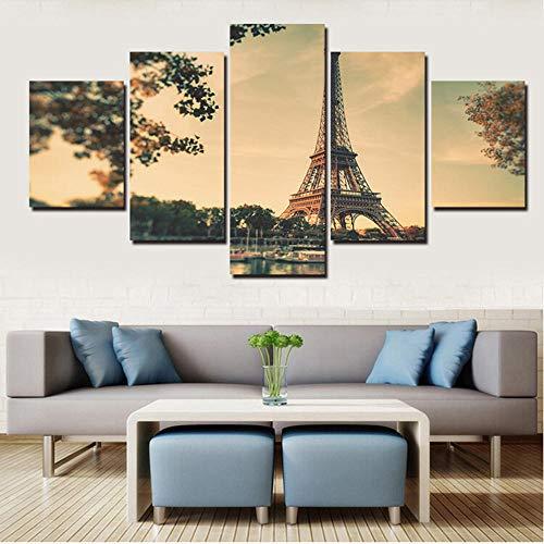 Wandkunst Dekor Rahmen Modulare 5 Panel Eiffelturm Gebäude Ansicht Bilder Hd Drucken Malerei Auf Leinwand Für Wohnzimmer-20X35/45/55Cm,With Frame ()